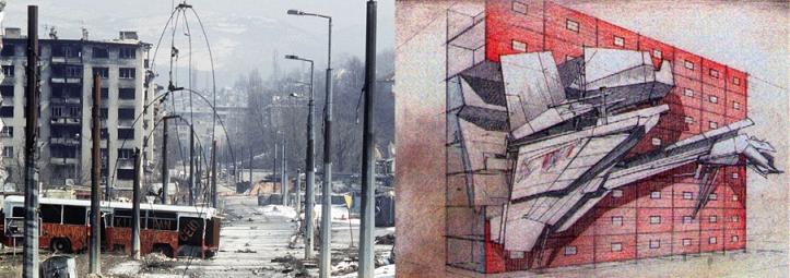 """Lebbeus Woods, """"Sarajevo"""""""